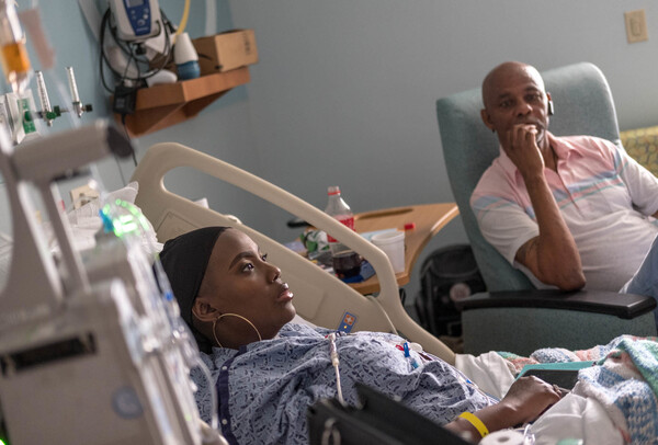 In July, Gray was recovering after a medical procedure that infused billions of her own bone marrow cells back into her body after they had been modified using the gene-editing technique CRISPR. Her father, Timothy Wright (right), traveled from Mississippi to keep her company.