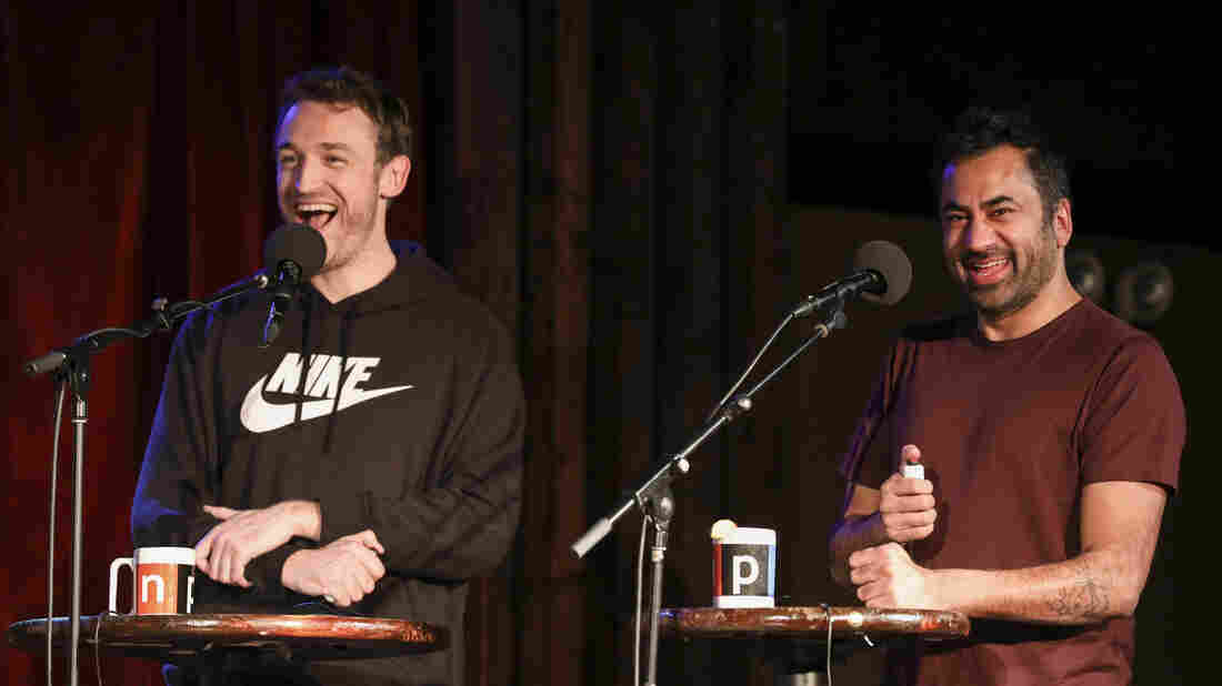 Dan Soder and Kal Penn appear on Ask Me Another at the Bell House in Brooklyn, New York.