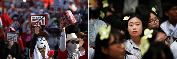"""Left: Holding signs saying """"My life is not your porn,"""" thousands of South Korean women protest against being filmed secretly in August 2018 in Seoul. Right: Schoolgirls wearing butterfly hairpins take part in a weekly protest outside Seoul's Japanese Embassy in July 2015, demanding an apology and compensation for Japan's abuse of Korean comfort women in World War II."""