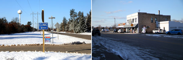 Left: A sign points the way to the Necedah Family Medical Center. Right: Downtown Necedah, Wis.