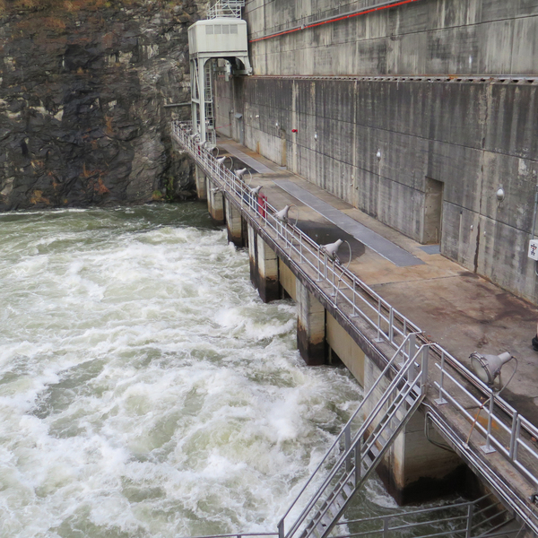 Lake Lanier, a reservoir northeast of Atlanta, generates hydropower as its water is released from a dam into the Chattahoochee River. More than 6 million people depend on water from the reservoir.