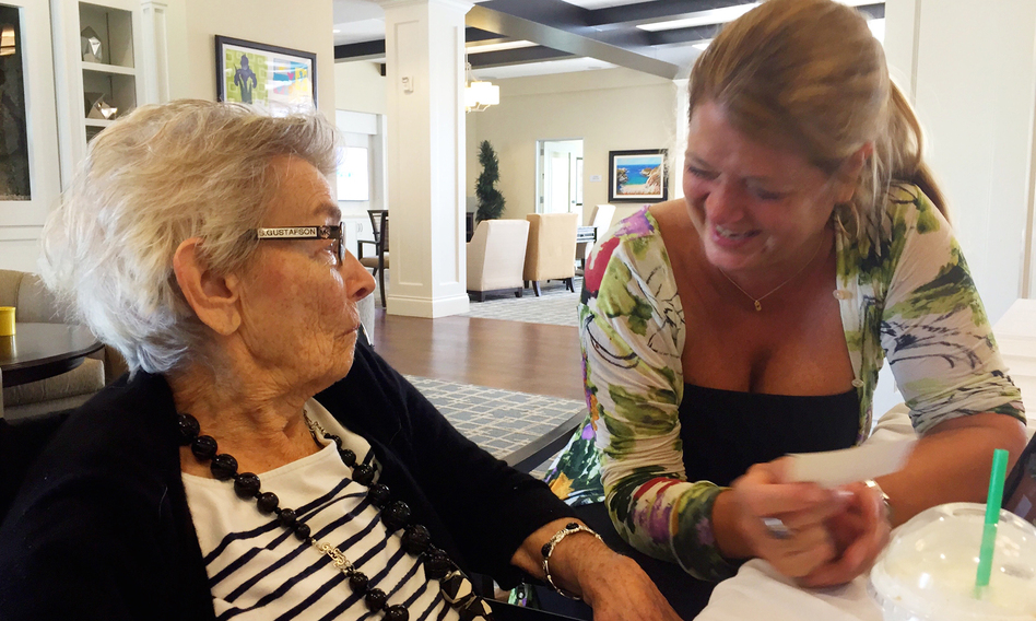 Nancy Gustafson (right), an opera singer, used singing to reconnect with her mother, Susan Gustafson, who had dementia and was barely talking. She says her mom started joking and laughing with her again after they sang together. (Emily Becker/Songs by Heart)