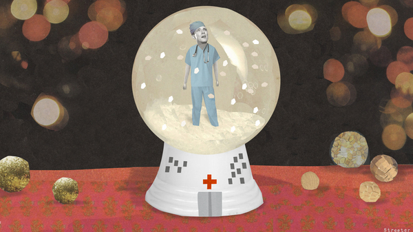 Illustration of a young doctor trapped in a snow globe, by Katherine Streeter for NPR.