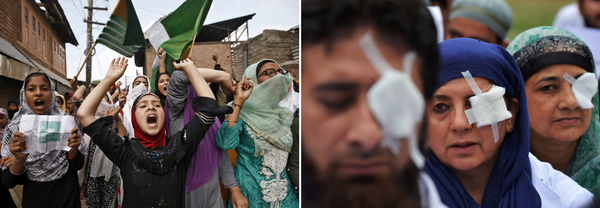 Left: Girls protest after Friday prayers in Srinagar, Indian-administered Kashmir, in September 2019. The Indian government revoked Kashmir's special status in August and shut down Internet access in much of the region. Right: At a hospital in Srinagar, doctors and paramedics wear bandages to protest the plight of Kashmiris shot in the eyes with pellet guns in 2016.