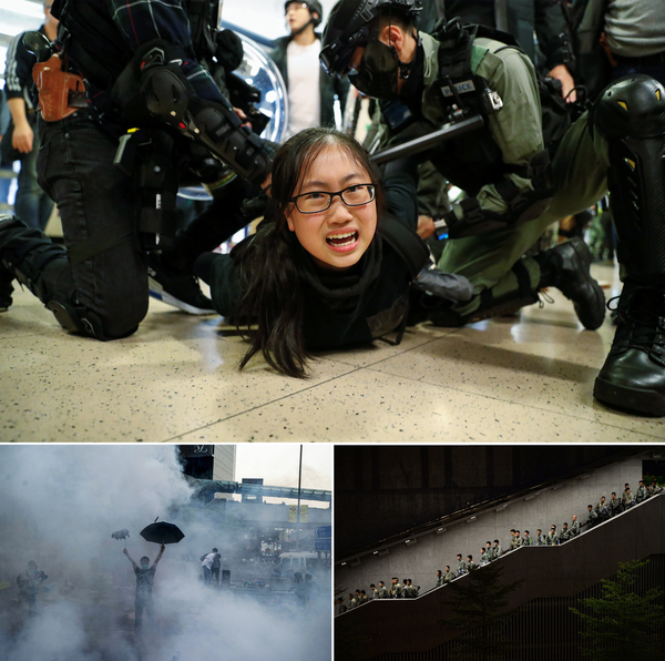 Top: Police officers detain an anti-government protester in Hong Kong in December 2019. Left: Police fire tear gas toward protesters, who are using umbrellas for protection near Hong Kong government headquarters in September 2014. Right: Hong Kong police descend a stairwell as pro-democracy demonstrators gather for a rally in September 2014.