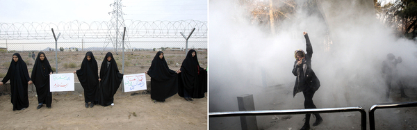 Left: Iranian students form a human chain during a protest to defend their country's nuclear program outside the Fordo nuclear facility in Qom, November 2013. Right: An Iranian woman raises her fist amid teargas at the University of Tehran during a protest driven by anger over economic problems in December 2017.