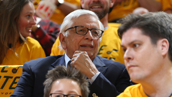Former NBA Commissioner David Stern attends a game between the Houston Rockets and the Utah Jazz during the Western Conference Semifinals of the 2018 NBA Playoffs.