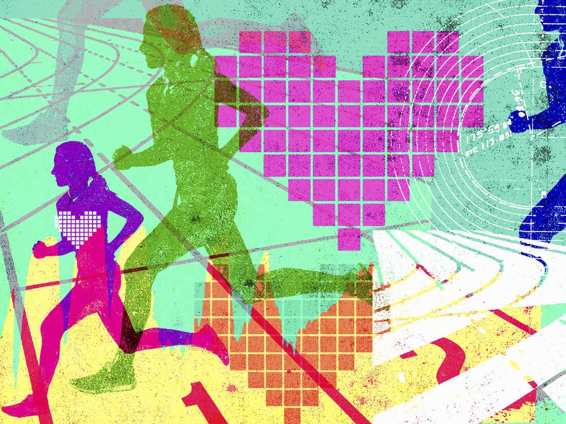 Stylized illustration of women jogging.