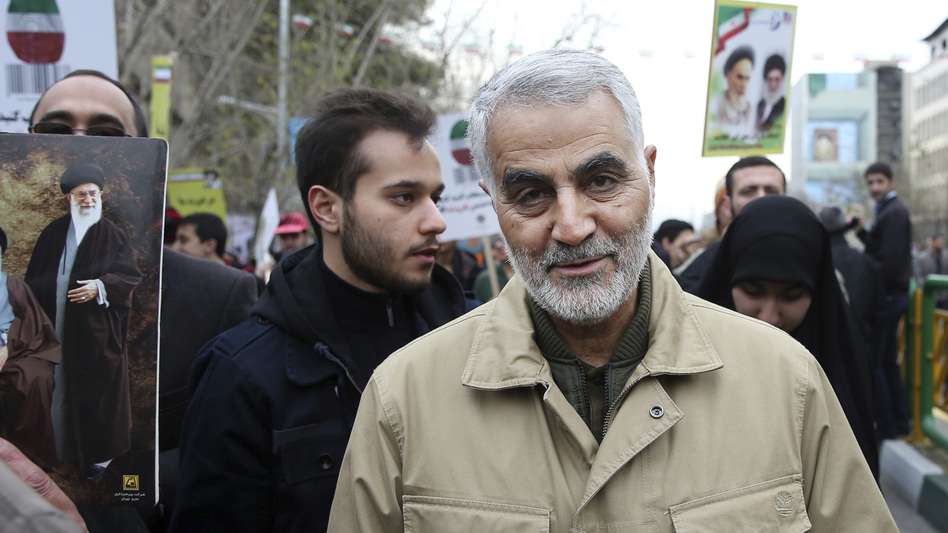Qassem Soleimani, pictured at a 2016 rally commemorating the anniversary of the Islamic Revolution, commanded Iran's Quds Force and had wide influence in Iran's foreign policy. (Ebrahim Noroozi/AP)