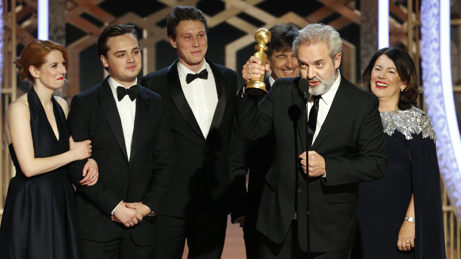 Sam Mendes accepts the award for best drama movie for <em>1917</em> at the Golden Globes on Sunday night. (Paul Drinkwater/NBC Universal via Getty Images)