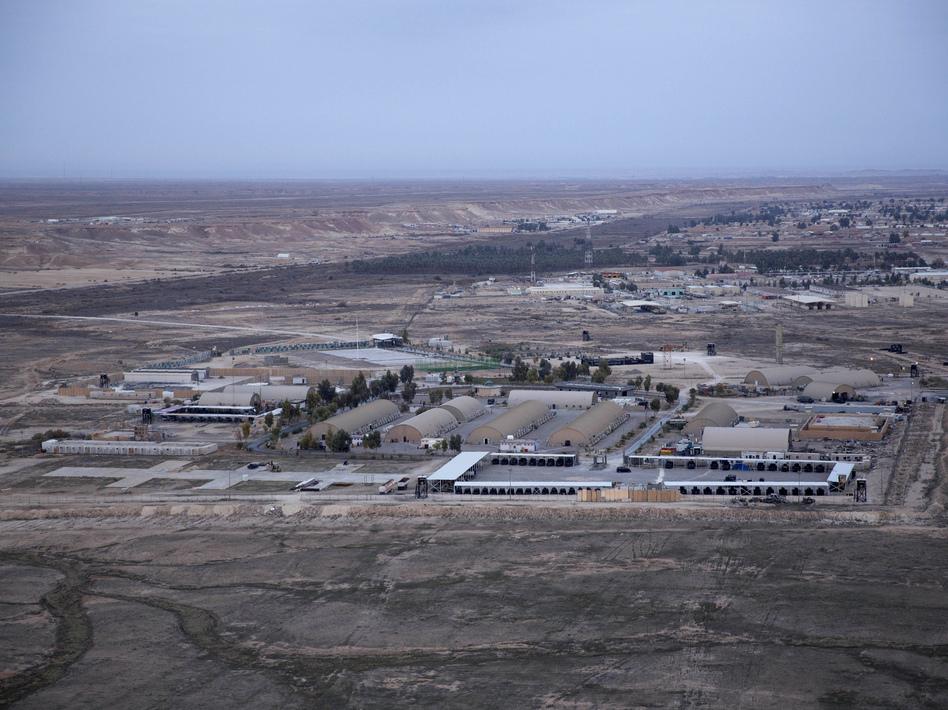 This aerial photo shows Ain al-Assad air base in the western Anbar desert, Iraq, in December 2019. (Nasser Nasser/AP)