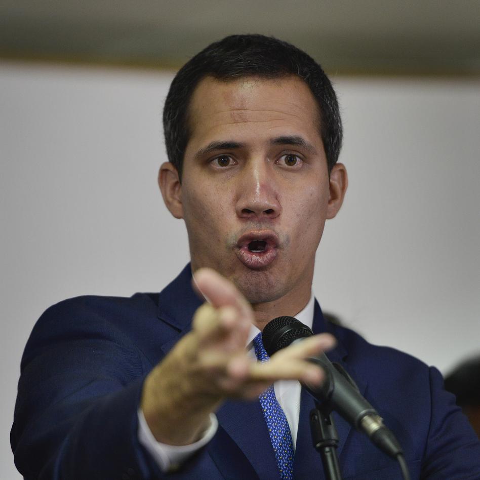 Opposition leader Juan Guaidó gives a news conference in Caracas, Venezuela, on Monday. (Matias Delacroix/AP)