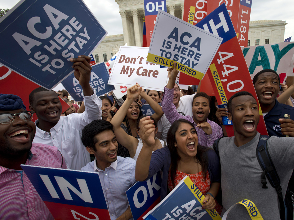 Student demonstrators cheered in 2015 outside the Supreme Court after learning that the high court had upheld the Affordable Care Act as law of the land. But Republican foes of the federal health law are still working to have it struck down. (Jacquelyn Martin/AP)