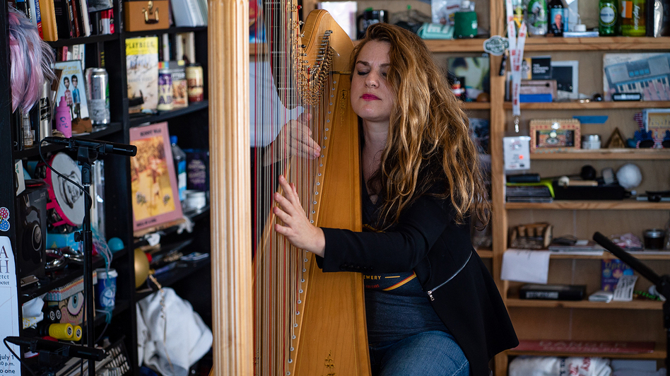 Bridget Kibbey performs during a Tiny Desk concert, on Oct. 24, 2019. (Catie Dull/NPR)