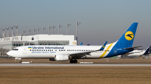 A Ukraine International Airlines Boeing 737-800 sits on the runway at Munich airport in 2016. The plane is similar to the one that crashed in Iran shortly after takeoff on Wednesday.