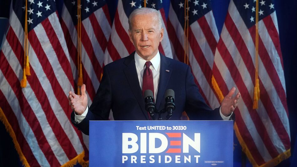 Former Vice President and Democratic presidential candidate Joe Biden delivers a foreign policy statement on Iran at Chelsea Piers in New York on Tuesday. (Timothy A. Clary/AFP via Getty Images)