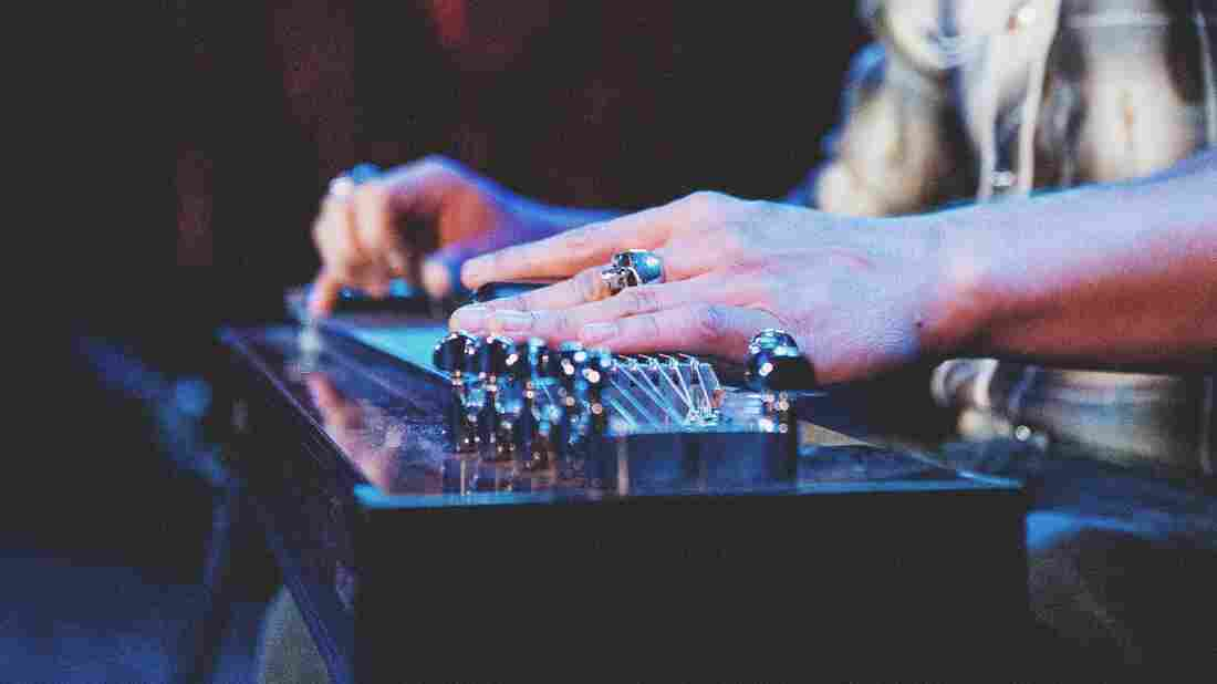 A pedal steel guitar being played.