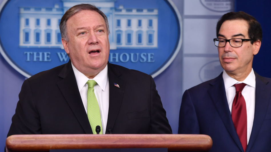 Secretary of State Mike Pompeo and Treasury Secretary Steven Mnuchin announce new sanctions on Iran at the White House on Friday. (Nicholas Kamm/AFP via Getty Images)