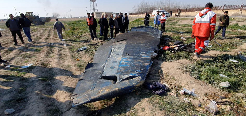 Debris from Ukraine International Airlines Flight 752, which was shot down after takeoff from Iran's Imam Khomeini airport, on the outskirts of Tehran. (Social Media/via Reuters)