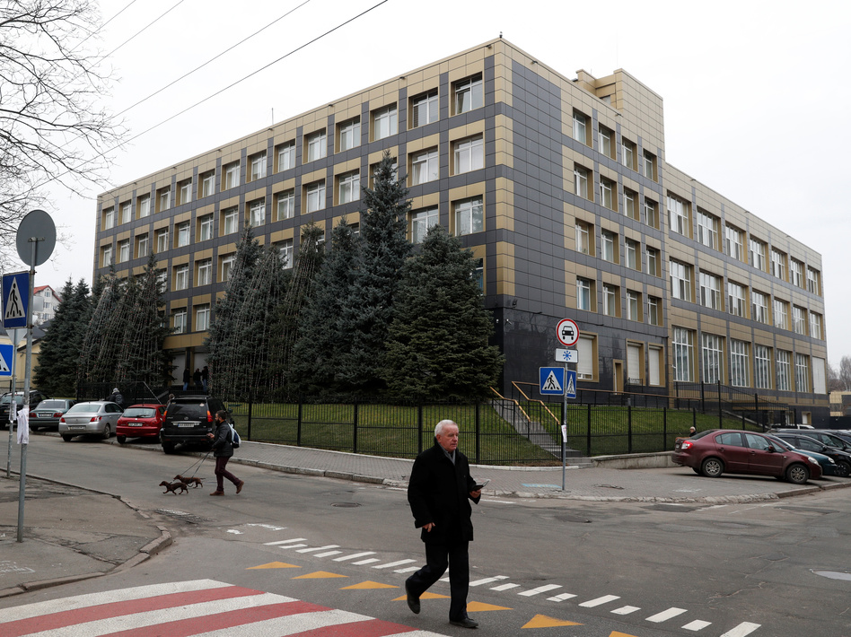 Russian hackers successfully infiltrated emails of employees at Burisma Holdings, a Ukrainian energy company, according to a U.S. security firm. Here, a building is seen in Kyiv that holds the offices of a Burisma subsidiary. (Valentyn Ogirenko/Reuters)