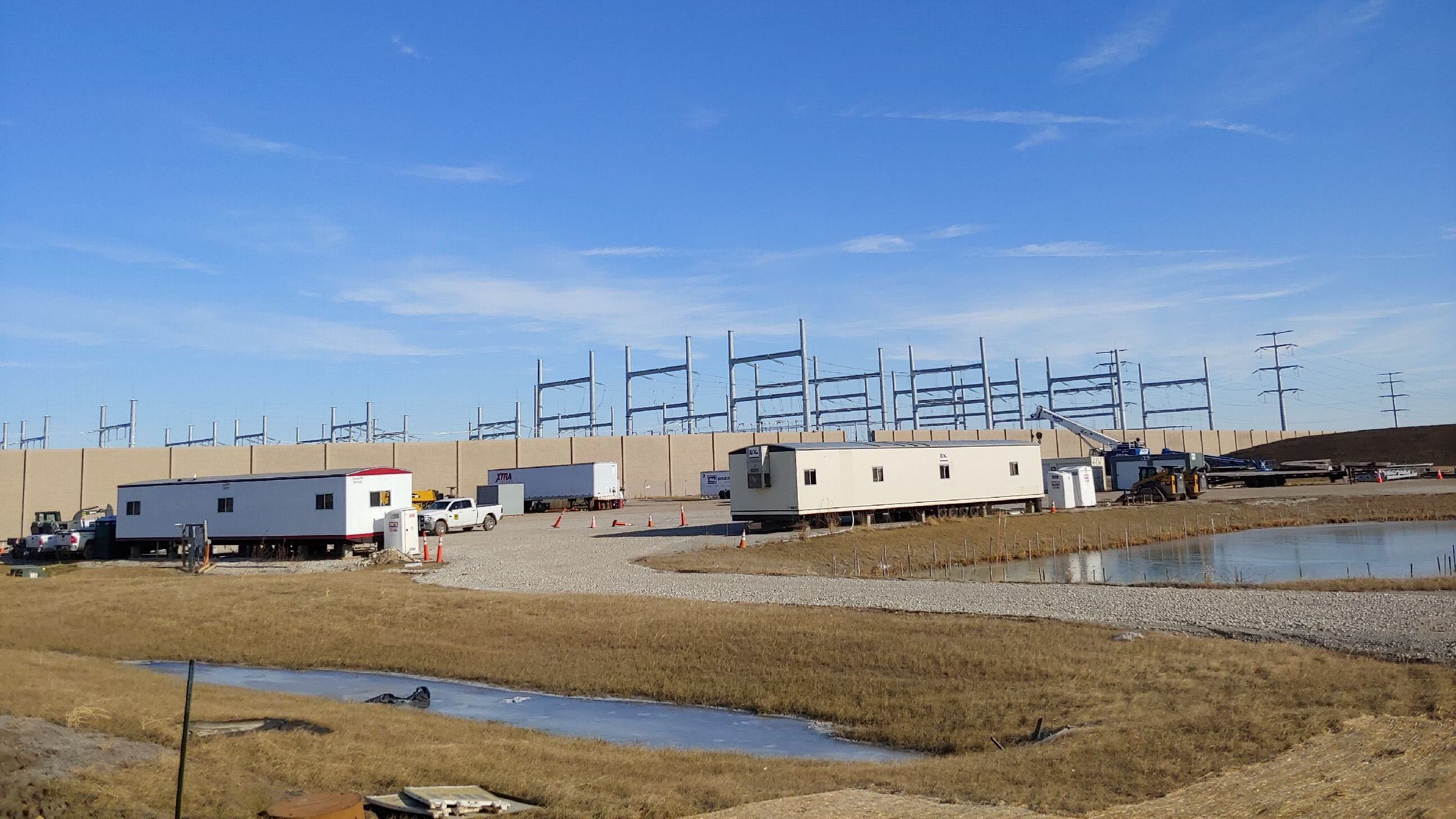 Foxconn's substation under construction in Mount Pleasant, Wis., on Dec. 15, 2019. State officials hope the company will help turn the region into the next Silicon Valley.