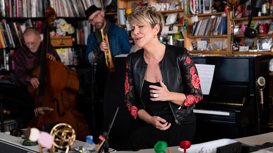 Joyce DiDonato performs during a Tiny Desk concert, on Nov. 11, 2019. (Catie Dull/NPR)