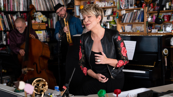 Joyce DiDonato performs during a Tiny Desk concert, on Nov. 11, 2019. (Catie Dull/NPR)