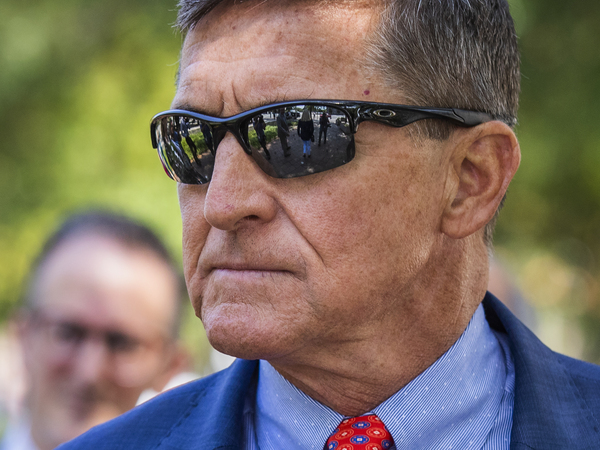 Michael Flynn, President Trump's former national security adviser, leaves federal court following a status conference with U.S. District Judge Emmet Sullivan in Washington in September.
