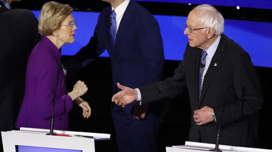 Democratic presidential candidate Sen. Elizabeth Warren called out Sen. Bernie Sanders, I-Vt., after Tuesday's debate. (Patrick Semansky/AP)