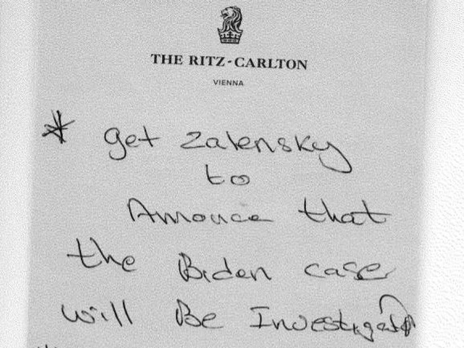 """A handwritten note by Rudy Giuliani associate Lev Parnas lists his tasks, starting with getting Ukraine's new president to announce an investigation into """"the Biden case."""" (Screenshot by NPR)"""