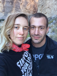Sarah Ziegenhorn and Andy Beeler shared a selfie while hiking in Texas' Big Bend National Park in December 2018. Beeler died of an opioid overdose last March. Ziegenhorn traces his death to the many obstacles to medical care that Beeler experienced while on parole.