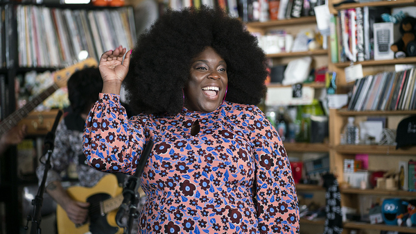 Yola Carter performs during tiny desk on December, 12, 2019. (Photo by Mhari Shaw/NPR)