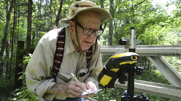 Bob Vollmer, seen in a 2016 photograph provided by the Indiana Department of Natural Resources, shows the now-102-year-old at work. The state