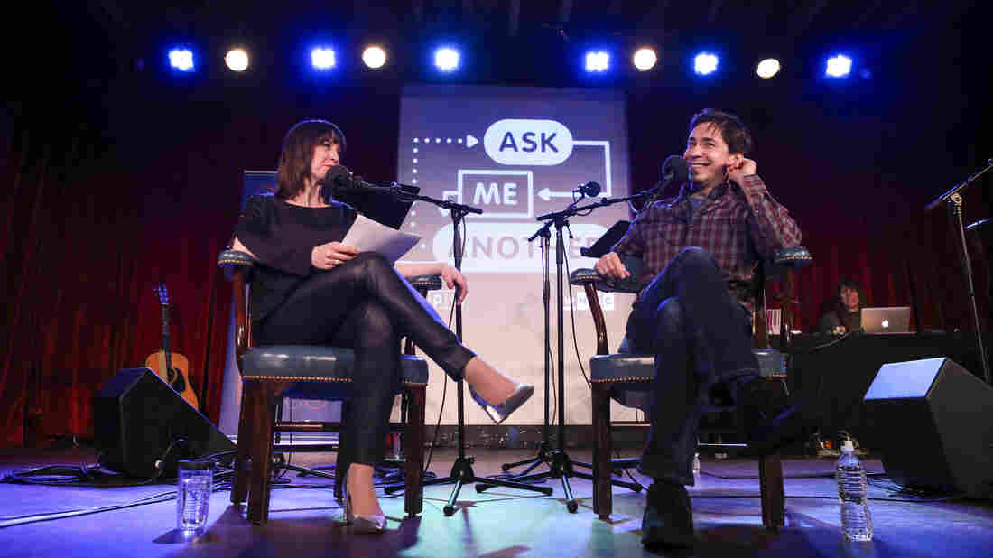 Ophira Eisenberg and Justin Long on Ask Me Another at the Bell House in Brooklyn, New York.