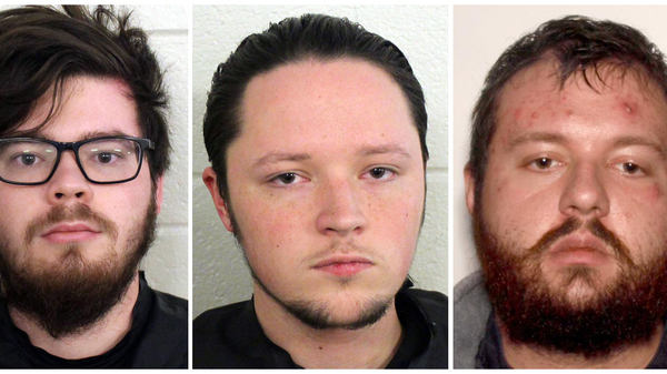 """From left: Luke Austin Lane, Jacob Kaderli and Michael Helterbrand are accused of plotting """"to overthrow the government and murder a Bartow County couple,"""" according to police in Floyd County, Ga."""