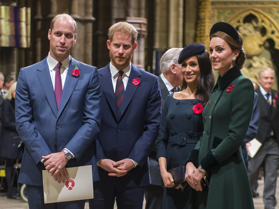 Prince Harry (center left), Duke of Sussex, and Meghan, Duchess of Sussex, join Prince William, Duke of Cambridge, and Catherine, Duchess of Cambridge, at a service marking the centenary of the World War I armistice at Westminster Abbey on Nov. 11, 2018. (WPA Pool/Getty Images)