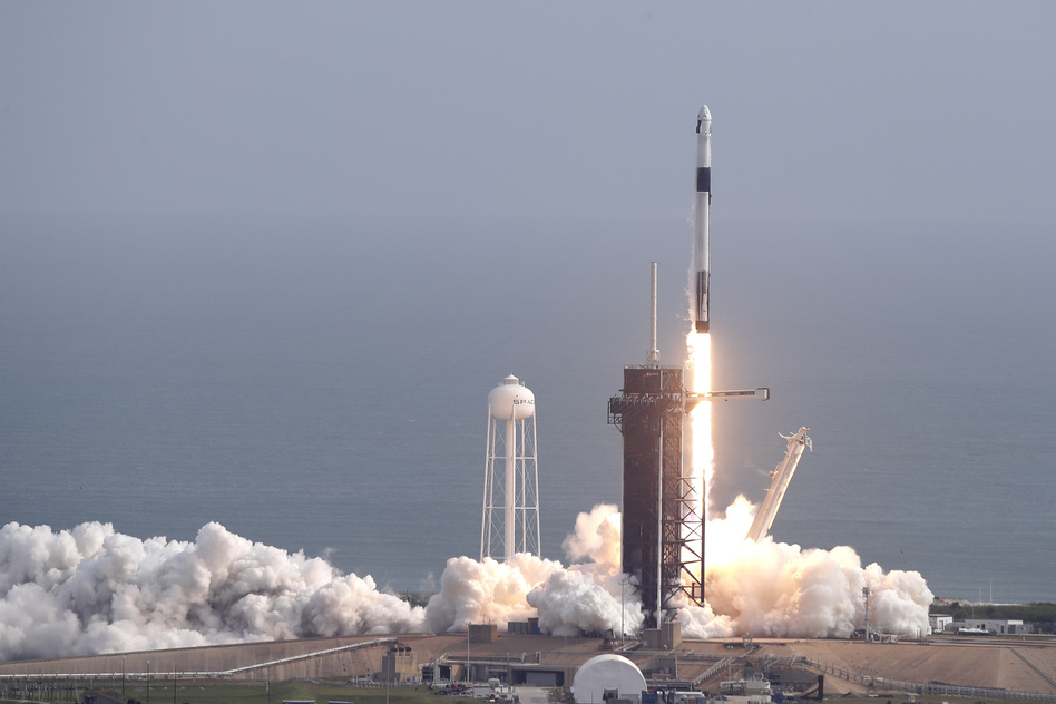 SpaceX successfully tested the emergency escape system of its Crew Dragon capsule on Sunday. The capsule is designed to carry astronauts to the International Space Station for NASA. (John Raoux/AP)