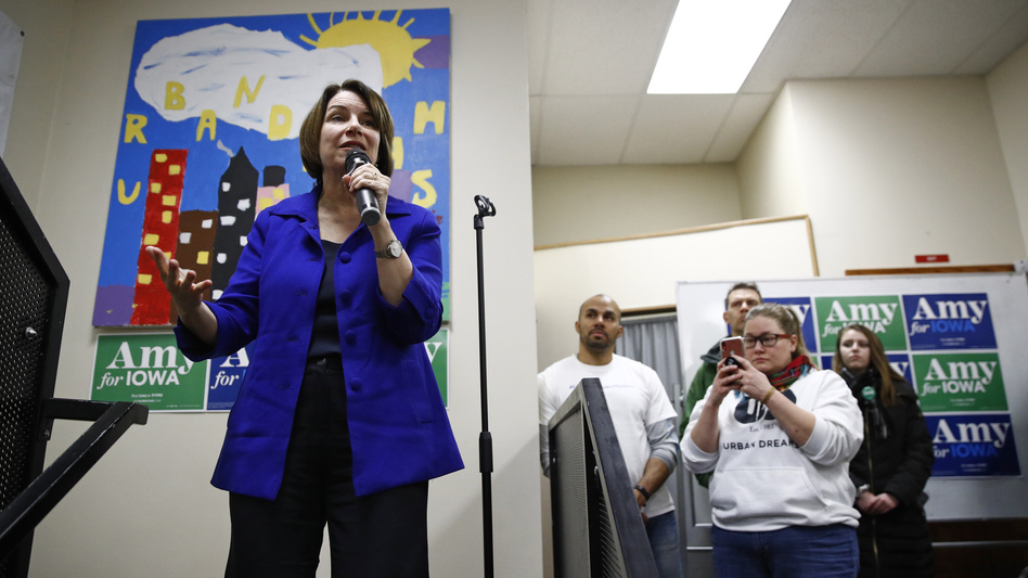 Democratic presidential candidate and Minnesota Sen. Amy Klobuchar speaks during a campaign event Sunday in Des Moines, Iowa. President Trump's impeachment trial will pull her and three other candidates off the trail at a critical juncture. (Patrick Semansky/AP)