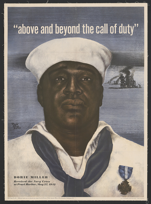 Miller's image was used in a 1943 U.S. Navy recruitment poster.