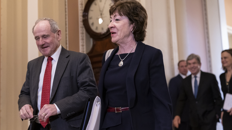 Sen. Susan Collins, R-Maine, was among a group of Senate Republicans who insisted that the time each side has to make its case be extended. (J. Scott Applewhite/AP)