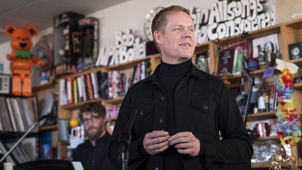 Max Richter performs during a Tiny Desk concert, on Oct. 21, 2019.