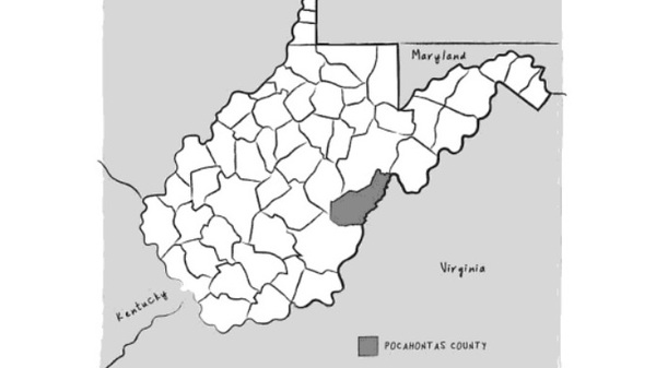 West Virginia and its counties. From The Third Rainbow Girl, by Emma Copley Eisenberg.