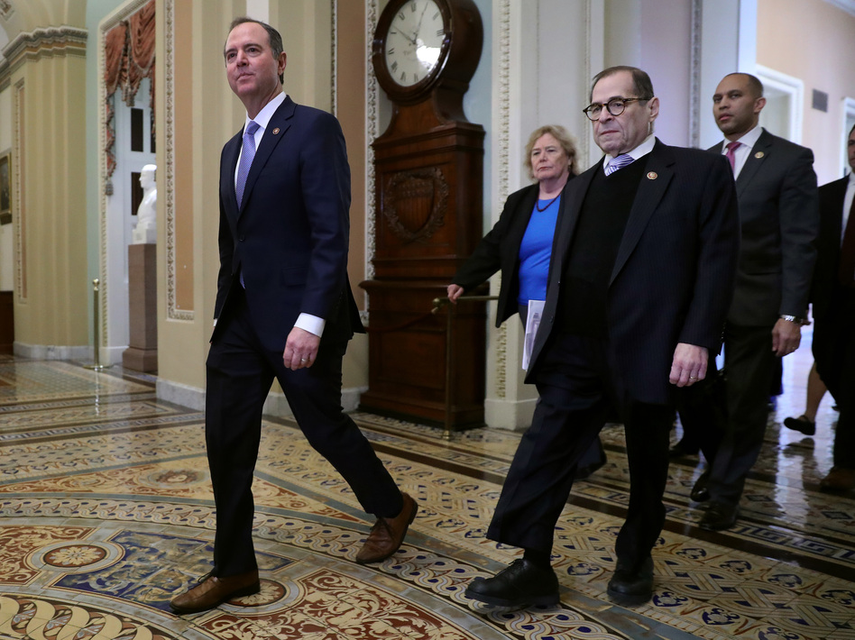 Impeachment managers (from left) Reps. Adam Schiff, Zoe Lofgren, Jerry Nadler and Hakeem Jeffries head toward the Senate chamber for the start of President Trump's impeachment trial Wednesday. (Chip Somodevilla/Getty Images)