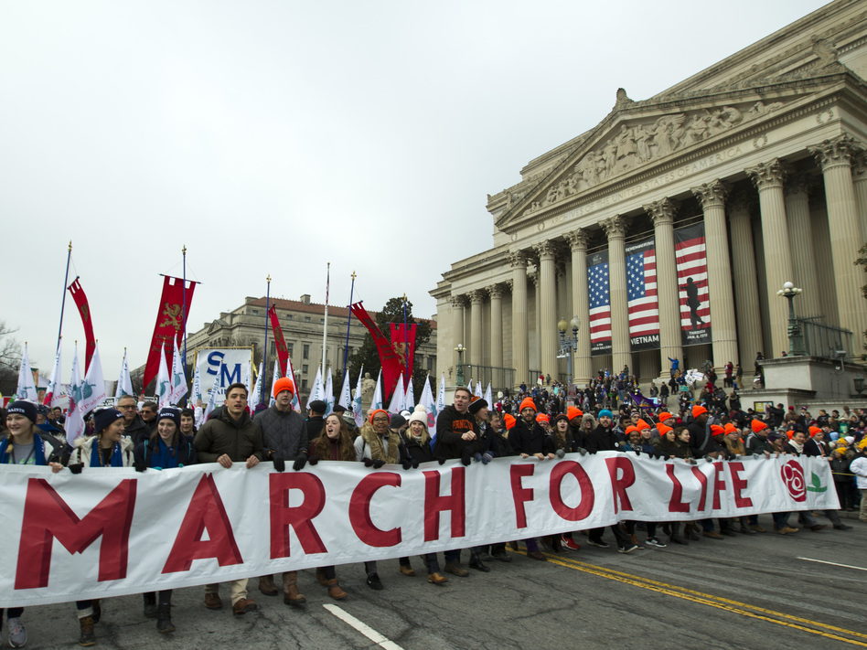 Anti-abortion rights activists march toward the U.S. Supreme Court during the 2019 March for Life in Washington, D.C. President Trump spoke at this year's rally on Friday. (Jose Luis Magana/AP)