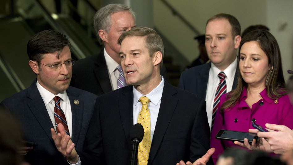 Rep. Jim Jordan, R-Ohio, accompanied by (from left) Rep. Mike Johnson, R-La., Rep. Mark Meadows, R-N.C., Rep. Lee Zeldin, R-N.Y., and Rep. Elise Stefanik, R-N.Y., speak to the media on Capitol Hill about the Senate impeachment trial. (Jose Luis Magana/AP)