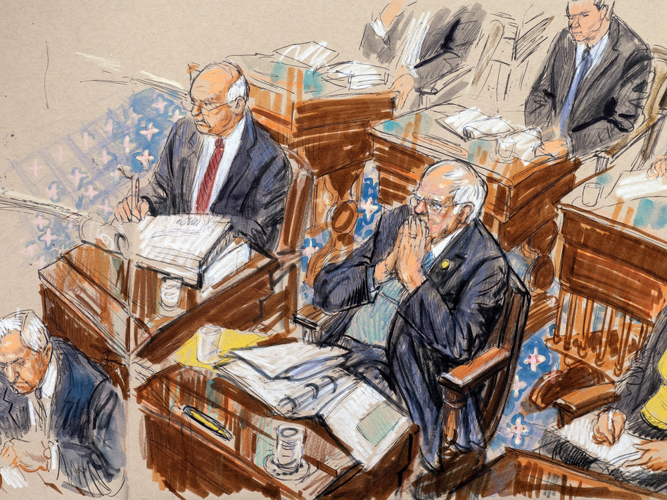 In this artist sketch, Sens. Ben Cardin, D-Md., (left) and Bernie Sanders, I-Vt., listen to the impeachment trial arguments. Several senators report that the trial's strict rules and long hours are testing their mental fortitude. (Dana Verkouteren/AP)