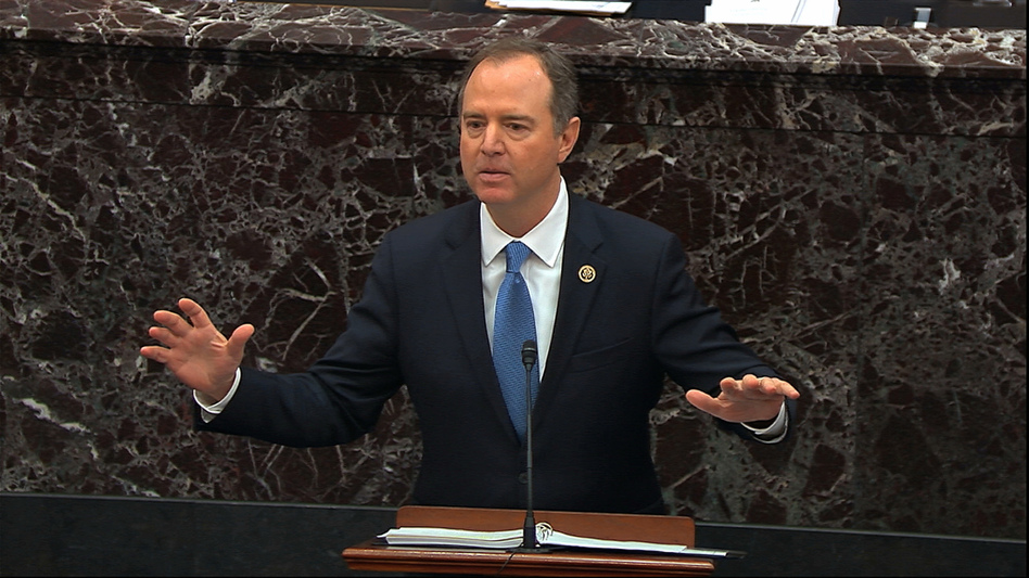 House impeachment manager Adam Schiff, D-Calif., tries to convince senators that President Trump should be removed from office. (Senate Television via AP)