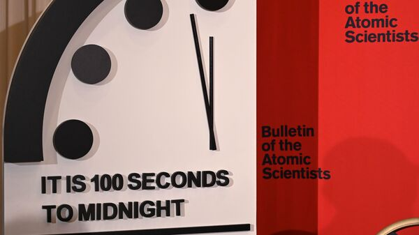 The Doomsday Clock reads 100 seconds to midnight, a decision made by the Bulletin of the Atomic Scientists that was announced Thursday. The clock is intended to represent the danger of global catastrophe.