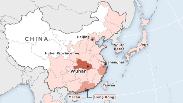 Map showing cases of Wuhan coronavirus detected so far