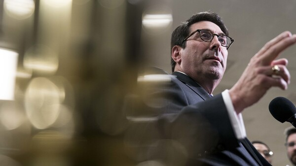 Jay Sekulow, personal attorney for President Trump, speaks during a news conference in the Senate subway on Friday.